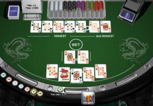 Pai Gow Poker de Playtech después de la separación - este ejemplo incluye una escalera en la mano alta.