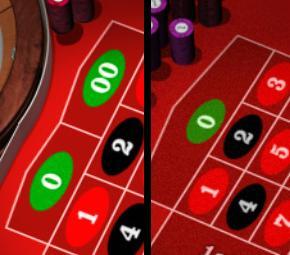 Venstre - Amerikansk roulette Højre - Europæisk roulette